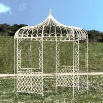Tonnelle Pergola Gloriette en Fer de Jardin Ronde Blanche ø250 cm