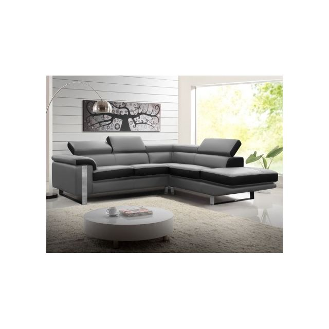 Canapé d'angle en cuir MYSTIQUE - Bicolore Noir et gris - Angle droit