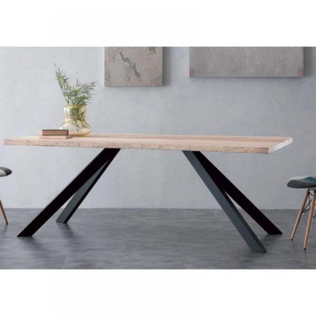 Inside 75 Table repas Bio Metal en bois massif piétement en métal noir