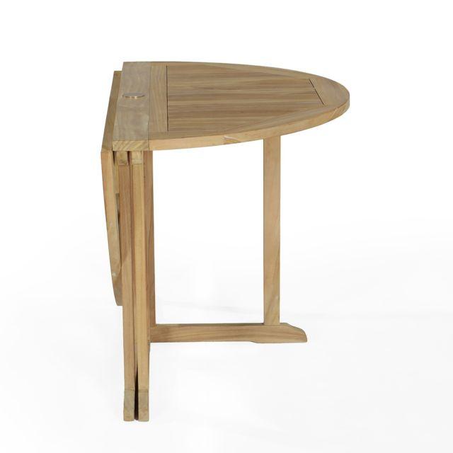 Soldes Teck\'ATTITUDE - Table pliante ronde en teck Ecograde Domingue ...