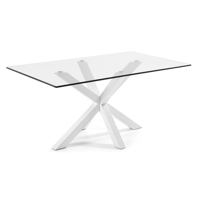 Kavehome Table Argo 160x90 cm, epoxy blanc et verre transparent
