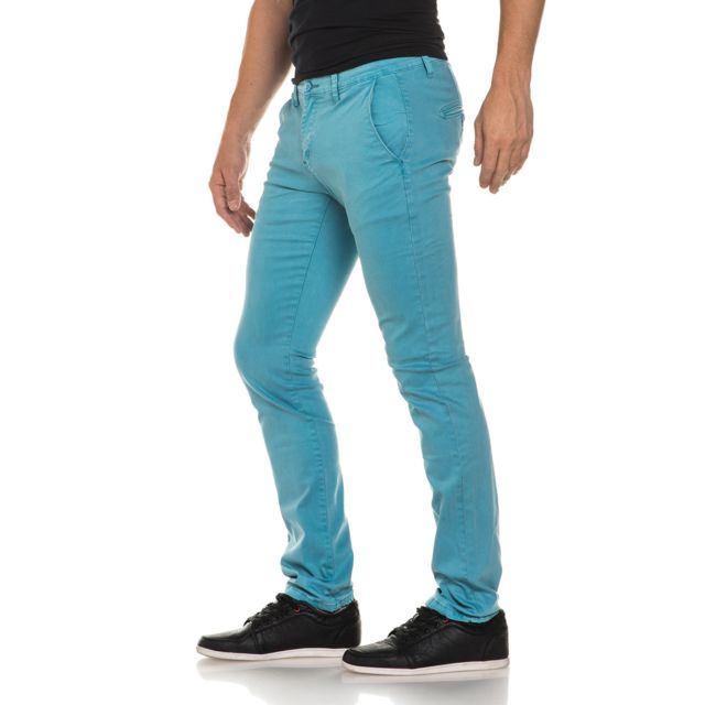 8fbab76bcd05 BLZ Jeans - Pantalon chino turquoise slim homme - pas cher Achat ...