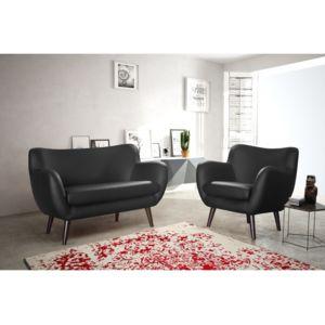 rocambolesk canap adele 1 place noir simili cuir pas cher achat vente fauteuils. Black Bedroom Furniture Sets. Home Design Ideas