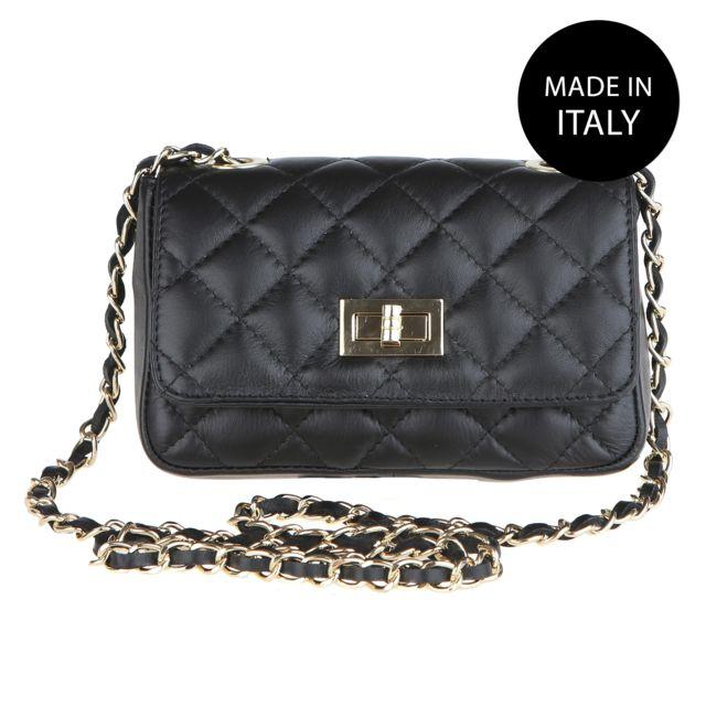 Chicca Borse - Sac Pochette Femme cuir noir - pas cher Achat   Vente ... fffca92177b