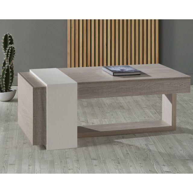 Tousmesmeubles Table basse relevable 2 tiroirs Chêne clair/Blanc - Esteban