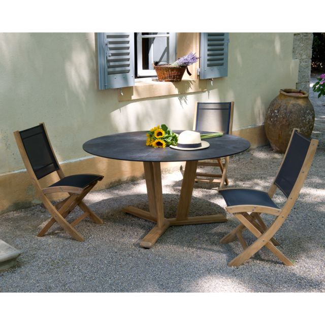 Les Jardins - Salon de jardin 2 personnes avec table ronde teck ...