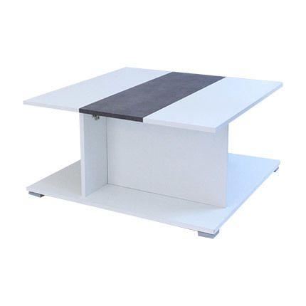 Table bar avec abattant effet béton - blanc
