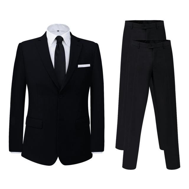 Vidaxl Complet pour hommes + pantalon supplémentaire noir taille 48