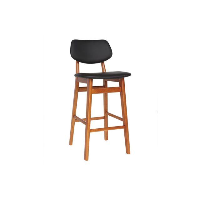 de 65 bar cm Nordeco Chaise de noyer noir design bois et w8Okn0P