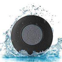 Shot - Enceinte Waterproof Bluetooth pour Huawei Ascend P8 Smartphone Ventouse Haut-Parleur Micro Douche Petite NOIR