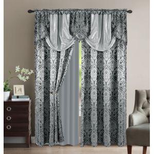 rideau gris argent pas cher. Black Bedroom Furniture Sets. Home Design Ideas