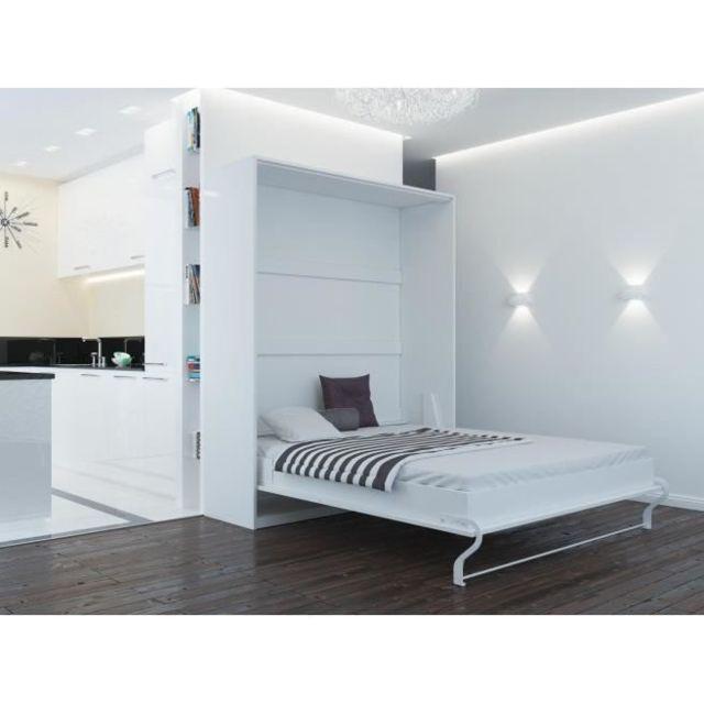 Lit Escamotable 160x200 Vertical Blanc
