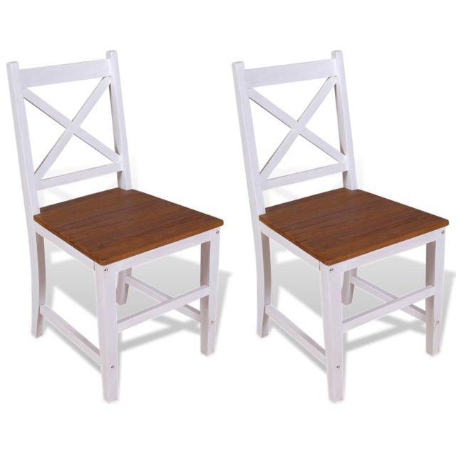 Chaise de salle à manger 2 pcs Bois de teck massif et d'acajou | Multicolore