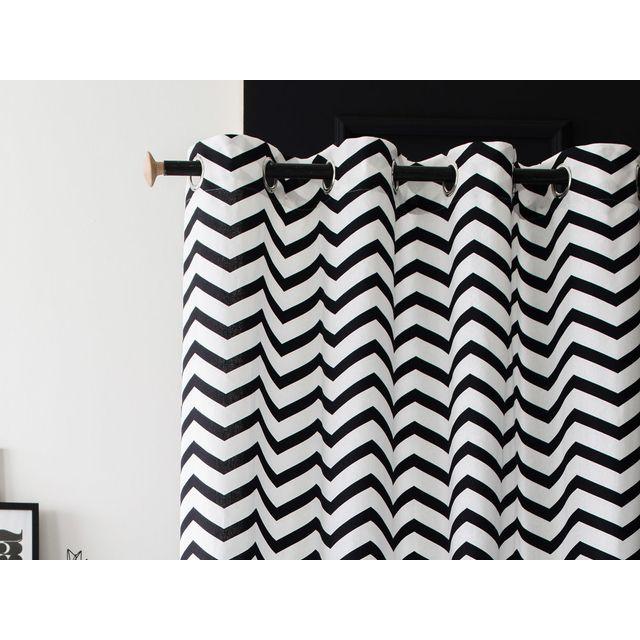 rideau noir blanc - achat rideau noir blanc pas cher - rue du commerce