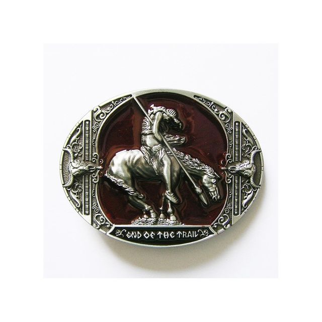 2a1d42a7cffc Universel - Boucle de ceinture country cheval end of th trail rouge mixt