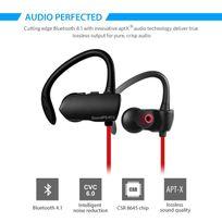 Alpexe - Ecouteur Sans fil Oreillette intra auriculaire ergonomique pour les activité extérieur,casque bluetooth avec le microphone intégré, compatible avec les pluparts des appareils bluetooth Q9A Rouge