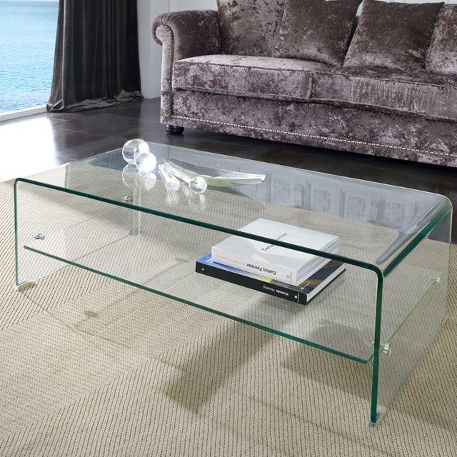 Nouvomeuble Table basse en verre design Caleb