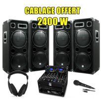 My Deejay - Pack Sono Dj Complet 2400WAmpli Double Lecteur Cd