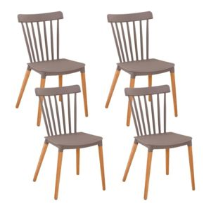 Zons medaillon lot de 4 chaises pp taupe 42 6x42x44 for Chaise zons