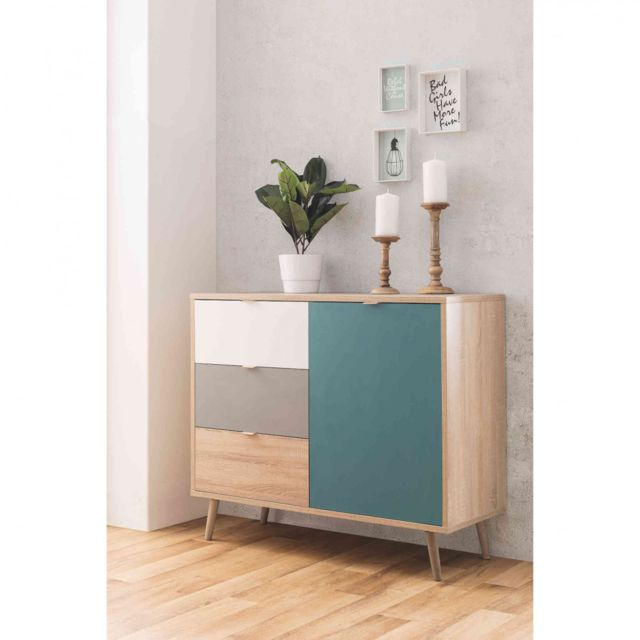 TERRE DE NUIT Commode scandinave 3 tiroirs 1 porte multicolore CO7001