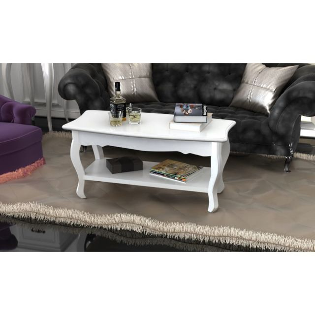 Vidaxl Table basse 2 couches Mdf Blanc