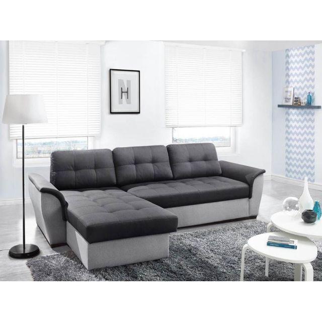 rocambolesk canap d 39 angle convertible nevo gris fonc gris clair avec coffre achat vente. Black Bedroom Furniture Sets. Home Design Ideas