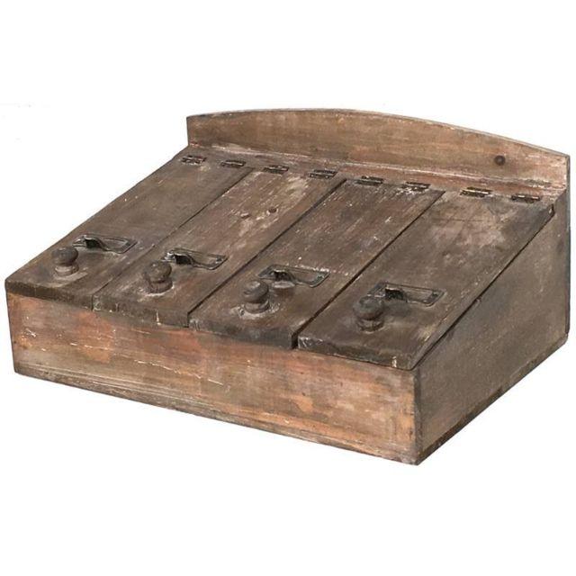 chemin de campagne grande bo te de rangement coffre coffret casier couvert bois 40x27x19 cm. Black Bedroom Furniture Sets. Home Design Ideas