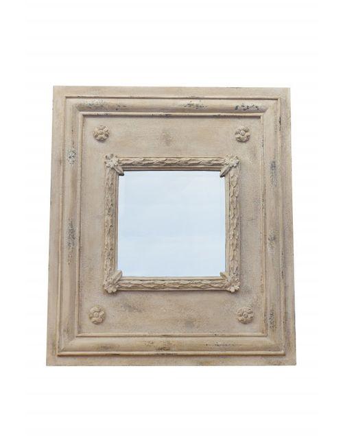 Decoshop Miroir carré en bois avec moulure