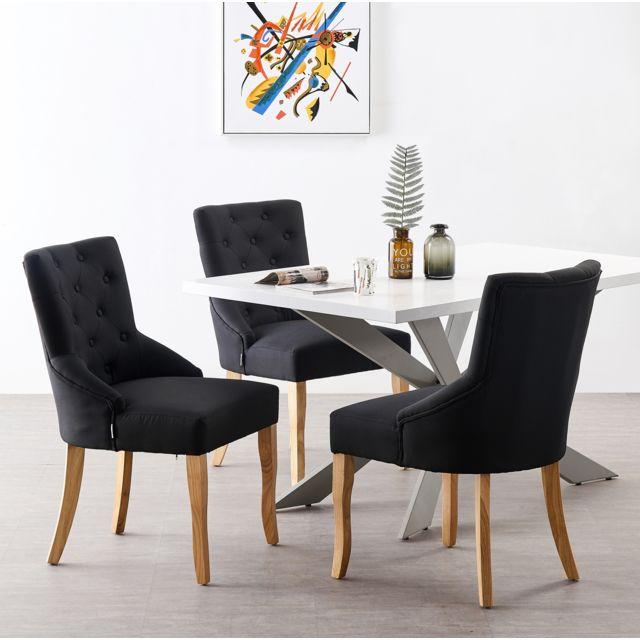 Home Design International Ensemble Table à Manger Blanche + 4 Chaises Capitonnées en Tissu Noir - Style Design