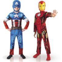Marvel - Boite Vitrine - Déguisement Captain America et Iron Man - Enfant - Taille : 3-4 ans 94 à 108 cm