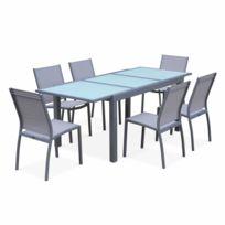 ALICE'S GARDEN - Salon de jardin table extensible - Orlando Gris clair - Table en aluminium 150/210cm et 6 chaises en textilène