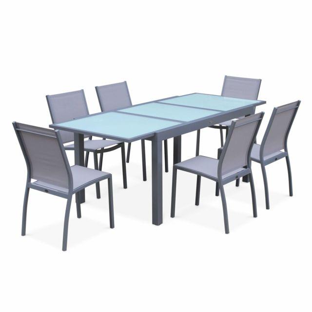 ALICE'S GARDEN Salon de jardin table extensible - Orlando Gris clair - Table en aluminium 150/210cm et 6 chaises en textilène