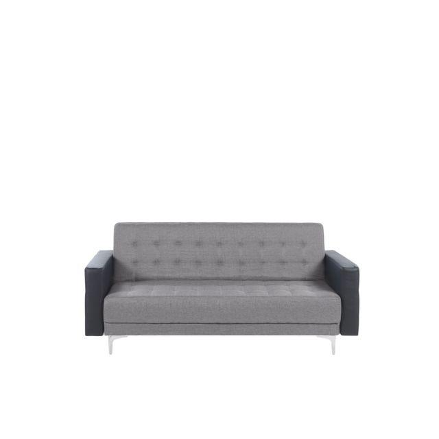 BELIANI Canapé convertible 3 places en tissu gris clair et simili-cuir noir ABERDEEN - gris
