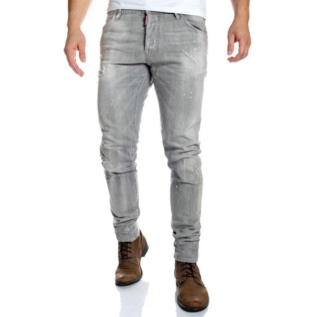 Dsquared2 - Jean homme cool guy slim gris usé - pas cher Achat   Vente Jeans  homme - RueDuCommerce 88006244c44c