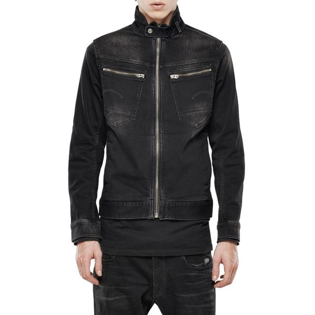 131bb6b0b1efd G-star Raw - Blouson G Star Arc Zip 3D Slim Intor Black Stretch Denim