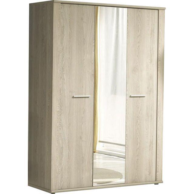 Comforium Armoire à 3 portes + miroir coloris chêne d'hiver design
