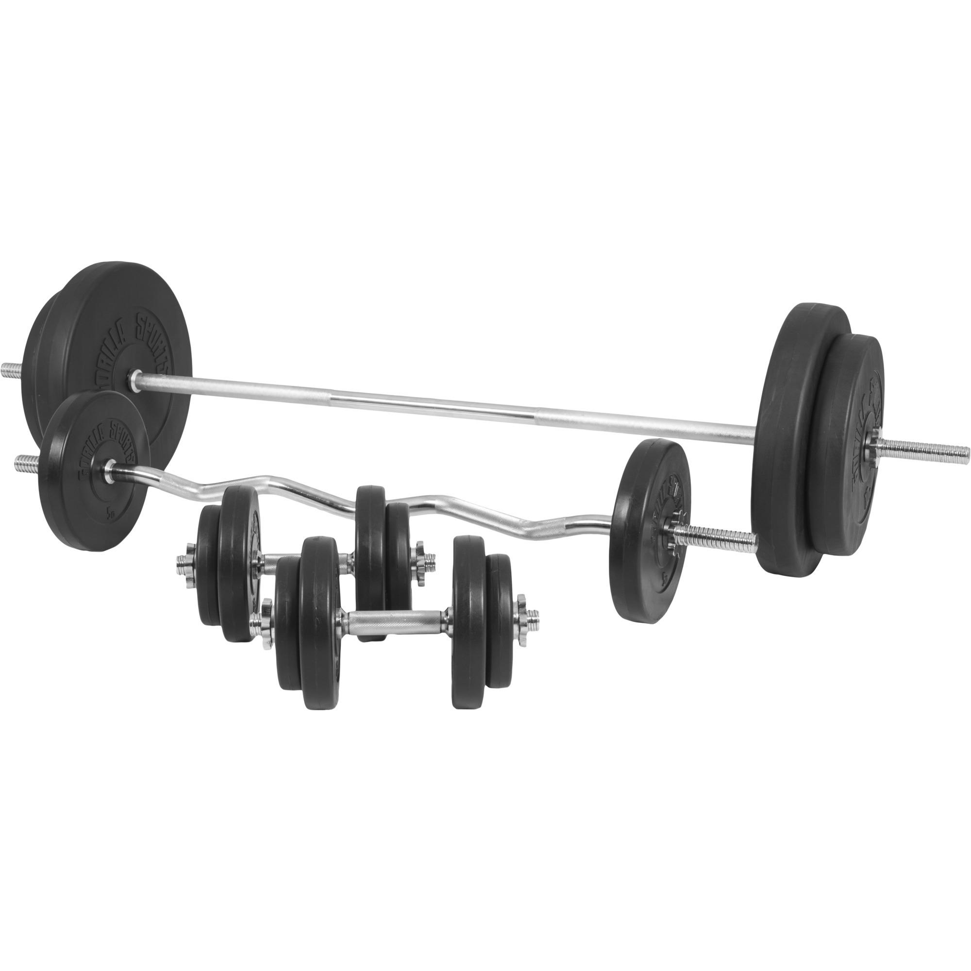 Banc de musculation universel Gs005 + Set haltères disques plastiques et Barres 97,5kg