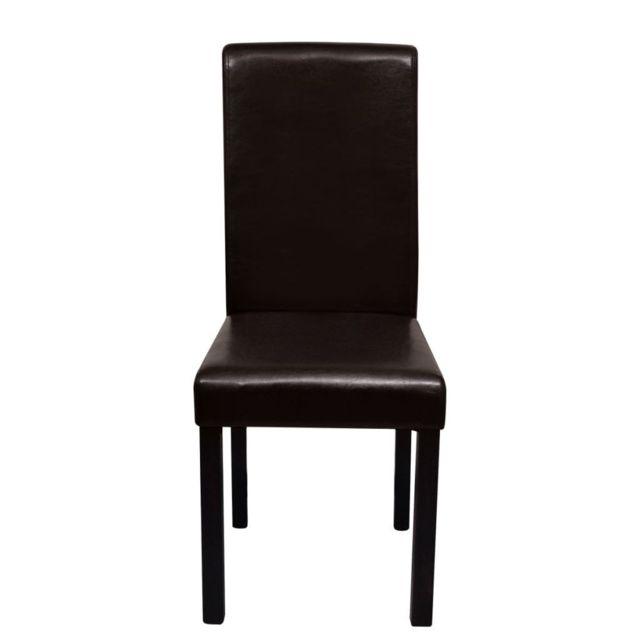 Lot de deux chaises de salle à manger cuir synthétique marron 1902224