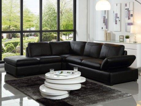 Canapé d'angle en cuir ONYX II - Noir - Angle gauche