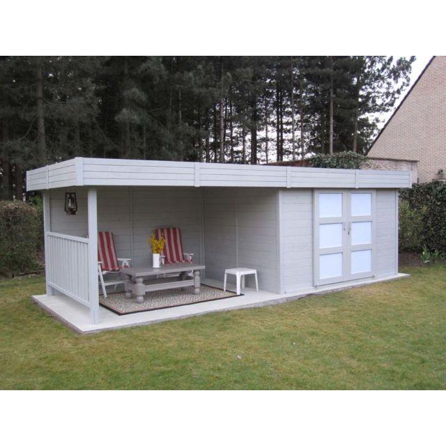 code promo bab05 06f9e Abri jardin bois Arhus - 19.90 m² - 7 x 2.84 x 1.85 m - 28 mm