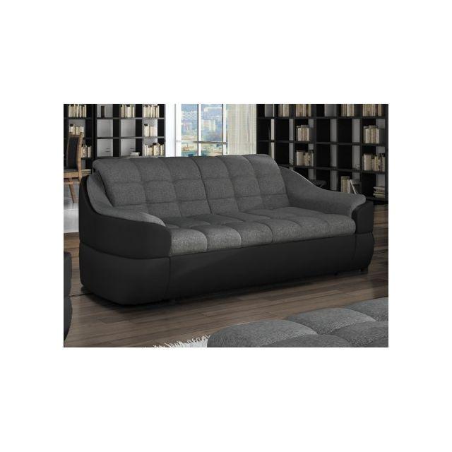 VENTE-UNIQUE Canapé 2 places en tissu et simili FAREZ - Bicolore gris et noir
