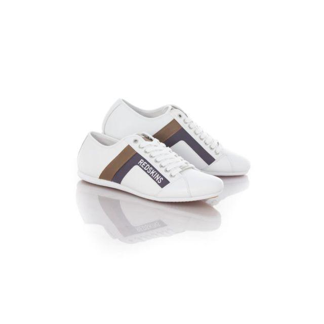 Redskins Chaussures Baskets en cuir Sabro blanc camel navy
