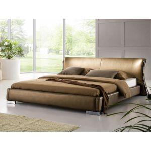 beliani lit design en cuir lit double 160x200 cm or sommier inclus paris 190cm x 220cm. Black Bedroom Furniture Sets. Home Design Ideas