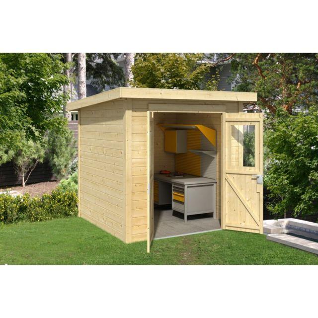marque generique abri bois nevada 3 73 m 197m x x 197m pas cher achat vente abris. Black Bedroom Furniture Sets. Home Design Ideas