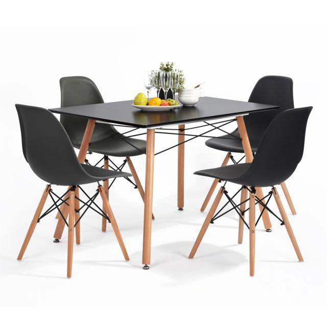 Meuble Express Table à manger scandinave noire bois