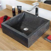 Ocean Line - Vasque salle de bain carrée en marbre noir Kiara