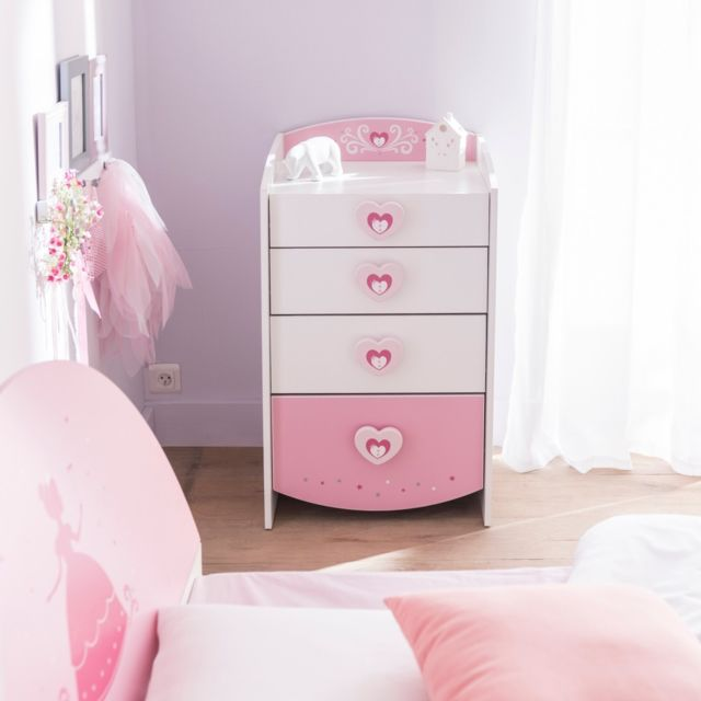 TERRE DE NUIT Commode féerie rose et blanc perle CO125