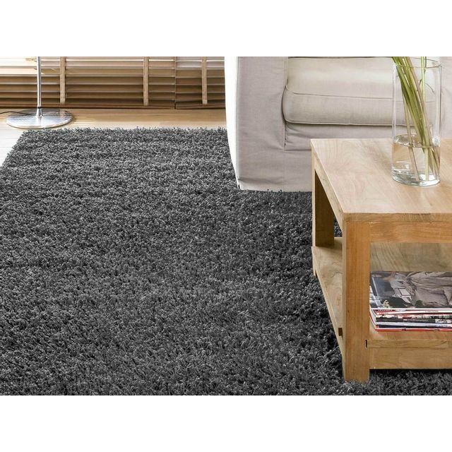 dlm tapis shaggy poil long gris 120x170cm douceur pas. Black Bedroom Furniture Sets. Home Design Ideas