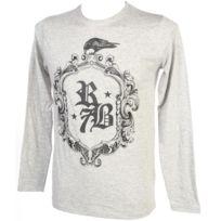 Rivaldi Black - Tee shirt manches longues Makinu lt grey mel ml tee Gris 79247