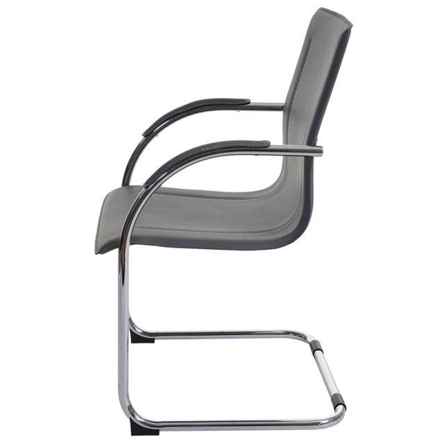 Lot de 2 chaises bureau visiteur en simili cuir gris avec accoudoir Bur04064